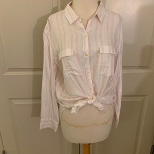 NWT LOFT White and Pink striped Blouse